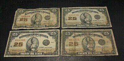 Canada 1923 25 cents Bank Note , lot of 4 25 cents