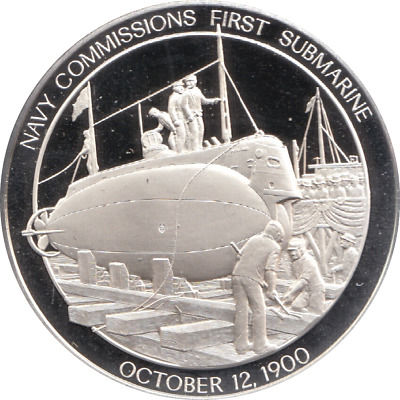 1900 History U.S Navy Silver Proof Medal Oct 12th NAVY FIRST SUBMARINE