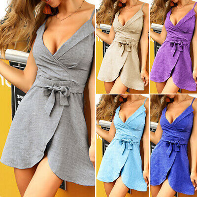 Women Dress Ladies Party Summer V-Neck Sexy Fashion Holiday Solid Casual