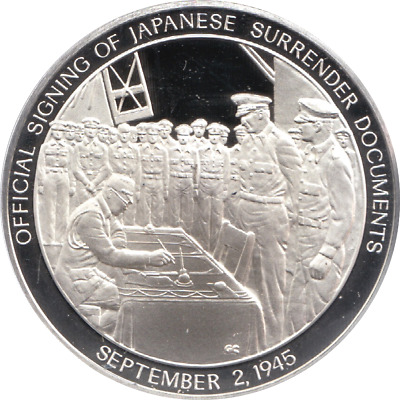1945 History U.S Navy Silver Proof Medal Sept 2nd SIGNING OF JAPANESE SURRENDER
