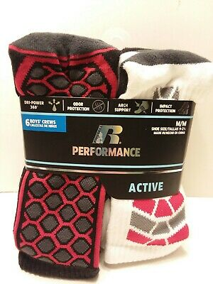 RUSSELL PERFORMANCE ACTIVE 3-Pairs Boys Crew Socks Size L (3-9
