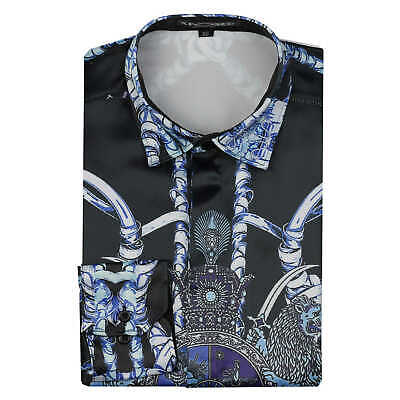 Mens Smart Silk Satin Feel Black Blue Retro Print Shirt Dress Wedding Party