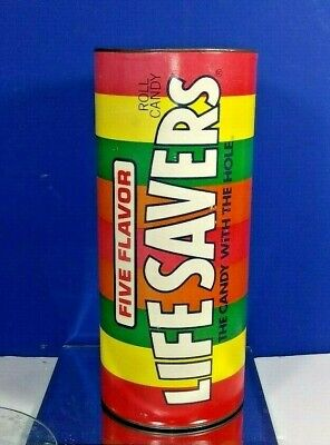 """5 Flavor Life Savers Candy With The Hole Coin Bank Metal Tin 12"""" Large"""