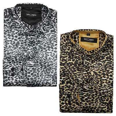 Mens Retro Leopard Animal Print Silk Feel Designer Style Smart Party Dress Shirt