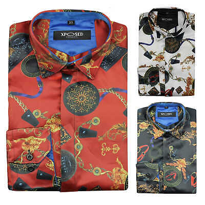 Mens Satin Silk Feel Retro Designer Style Print Smart Casual Dress Party Shirt