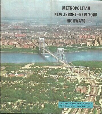 Official 1954 PORT OF NEW YORK Road Map Bridges Tunnels Ferries Airports Highway