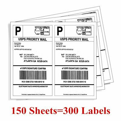 300 8 5 X 5 5 Premium Shipping Label Half Sheet Self