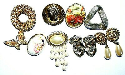 97ab0a42400 Collection Vintage Clip-On Brooches and Ear Rings Jewellery Rare Beautiful  Set