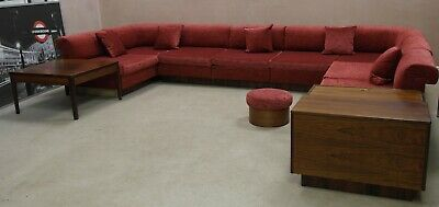 Poul Hundevad Attribute Danish Sectional Sofa With Rosewood Cabinet Coffee Table
