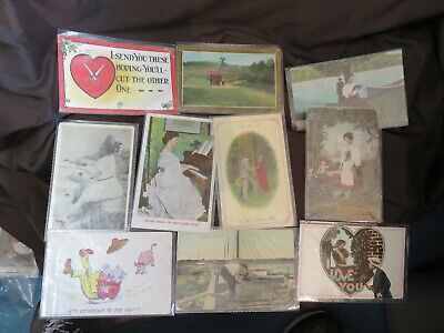 HUGE LOT 10 Vintage 1910 Era Postcards Most With Stamps And Personal Notes