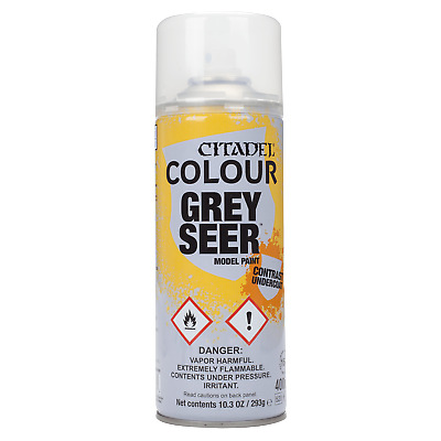 CITADEL COLOUR Grey seer model paint Primer Warhammer Spray NEW For Contrast