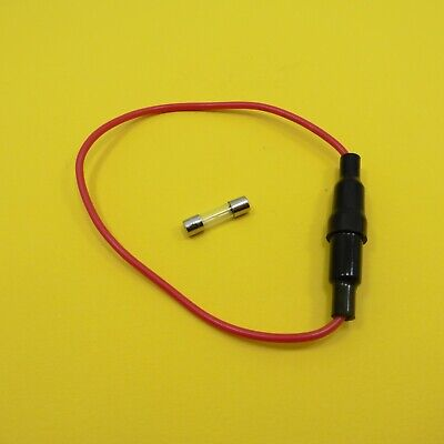 5x20mm Slow Acting Fuse Blow Glass Body + 20A AGC In-Line Screw Holder 18 AWG