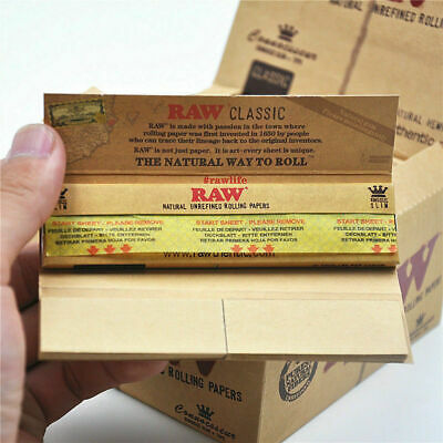 Raw Rolling Classic KING SIZE Connoisseur Rolling Papers With Tips Box 24 Packs