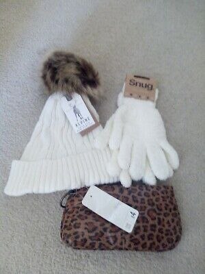 Ladies, bobble hat,gloves and bag