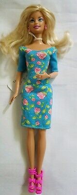 Barbie 2009 Muse Doll Blonde and Floral Teal Blue Dress Pink Heels Shoes Mattel