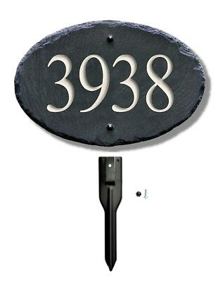 CARVED SLATE ADDRESS Plaque Sign  LAWN STAKE House Number Marker yard post 8CE