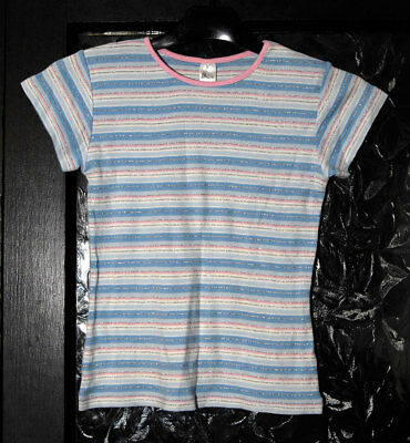 New without Tags Girls Pink/Blue/White/Silver Striped Top by BHS - Age 7-8 yrs