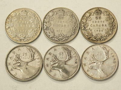 🍁 1931 to 1943 Canada 25 Cents Lot of 6 Coins  #2000