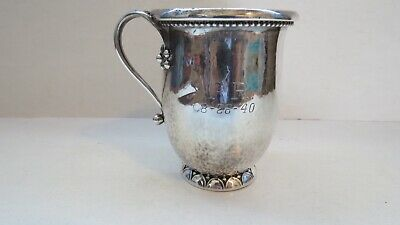 GEORG JENSEN Vintage Sterling Silver  Hammered Baby Cup  127 A