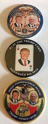 "One 3"" Trump 2016 Campaign Pins and Two 3"" Trump-Pence Inaugural Pins"