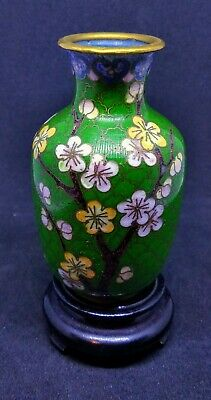 stunning green cloisonne vase with carved wood stand 3.1' tall brilliant color!