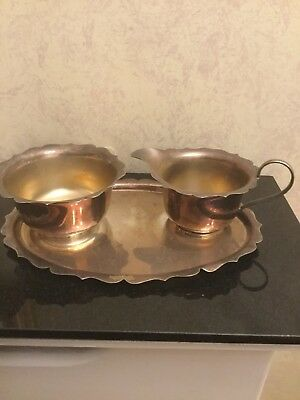 Vintage Silver Plated Jug & Bowl And Serving Tray