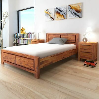 vidaXL Solid Acacia Wood Bed Frame with Cabinets Brown 140x200 cm Bedroom#