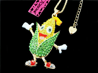 Betsey Johnson Lovely Yellow/Green Crystal Corn Pendant Long Chain Necklace