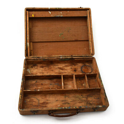 Vintage Rustic Wooden Art Supplies Case with Leather Handle Metal Hardware USED