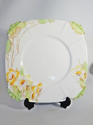 Antique Art Deco Royal Albert Crown China Daffodil Square Cake Serving Plate