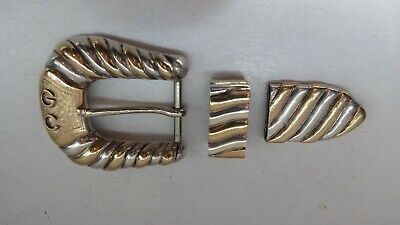 EDWARD BOHLIN STERLING SILVER & GOLD CHEYENNE  BELT BUCKLE w diamond in tongue