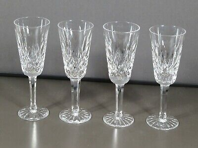 "Waterford Cut Crystal ""Lismore"" Set 4 Sherry Glasses Ireland Signed Xlnt!"
