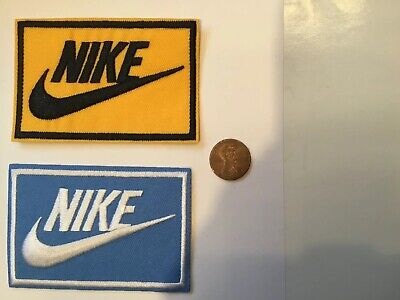"(2) Nike  Logo/ Emblem Embroidered Iron On Patches PATCH LOT apx 3.3"" X 2.1"""