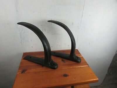 Brackets Hooks Set of 2 Antique Cast Iron Huge Industrial Salvage Repurpose