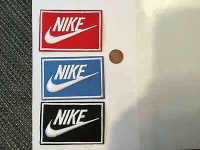 "(3) Nike  Logo/ Emblem Embroidered Iron On Patches PATCH LOT 3.3"" X 2.1"""