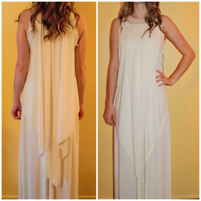 Vtg 1970s Hippy Boho Draped Crochet Grecian Goddess Party Maxi Long Dress S