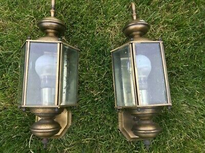2 Vintage Outdoor Brass Wall Sconce Porch Lighting Fixtures, LARGE & HIGH END