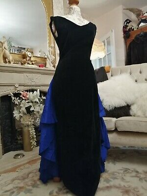 Droopy And Browns Vintage Velvet Silk Train Pencil Gown Dress 14