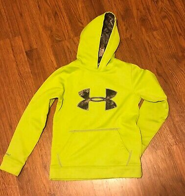 Under Armour Boys Hoodie Size Medium Youth Free Shipping Neon Green And Camo