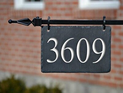 CARVED SLATE LAMPOST HANGING ADDRESS Sign House Numbers Plaque lightpost  3C