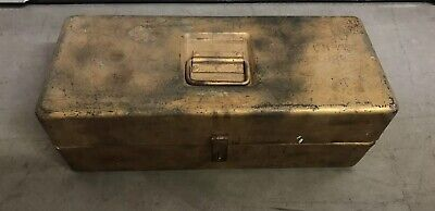 VTG WWII Signal Corps CHEST CH - 77 US Army Heavy Metal Gold Trunk