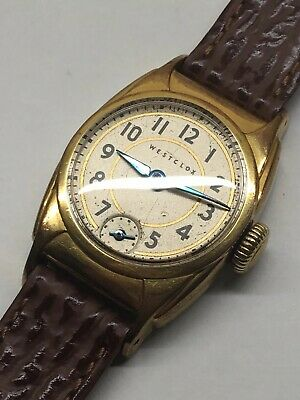Vintage Westclox 1940s Mens Wrist Watch Gold Plated Rare Working