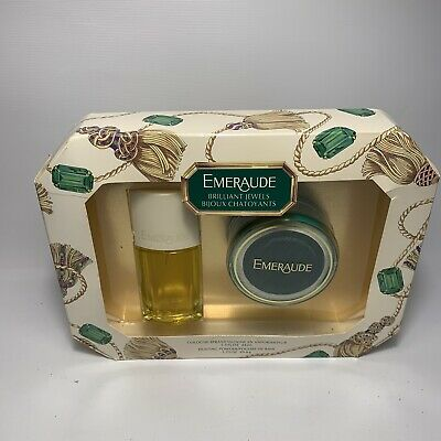 Vintage -  Emeraude Gift Set - Cologne & Dusting Powder - NEW