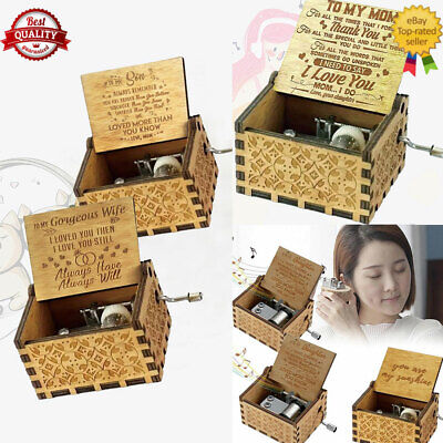 Wooden Music Box To Daughter/Mum/DAD/Son/Sunshine/Wife-Engraved Toy Best Gifts