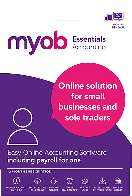 MYOB Essentials Accounting Payroll for One 12 Month Subscription Email Code