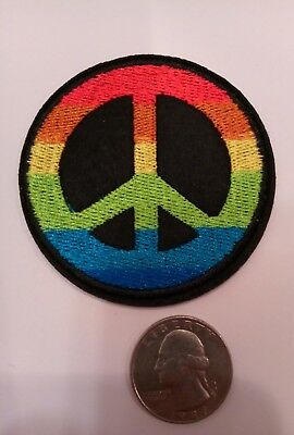 """1960'S Style Peace Sign Patch Embroidered Iron On Patch  2.5"""" X 2.5"""""""