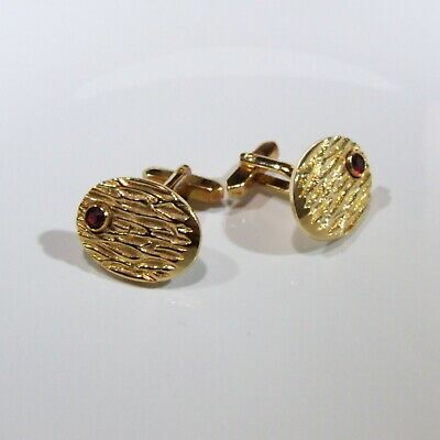 Vintage Unique Oval Retro style Red Stone Gold tone Cufflinks 60-70s