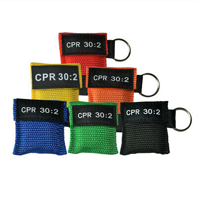 60PCS CPR MASK WITH KEYCHAIN CPR FACE SHIELD POCKET AED 6 Colors CPR 30:2