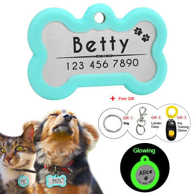 Personalised Dog Cat ID Tag Bone/Round Disc Disk Glowing Pet Name Tags Silencer