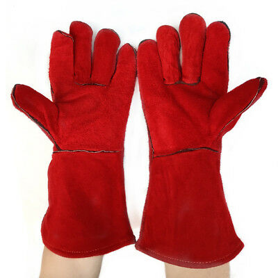 Welding High Temperature Gloves Leather Insulation Protection Long Red Gloves